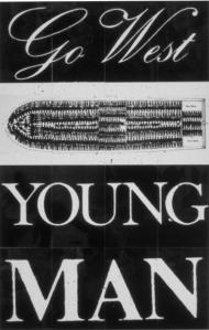 Go West Young Man, (1987), by Keith Piper. (Image shown = Title print of a 14-part installation).