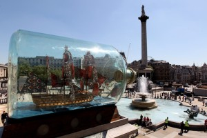 Photograph of Nelson's Ship in a Bottle (2010) by Yinka Shonibare. Trafalgar Square 4th Plinth Commission.