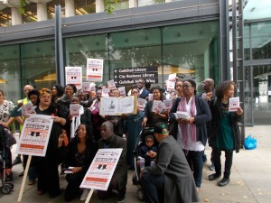"""BOYCOTT THE HUMAN ZOO!"" – A public demonstration opposing the Barbican Centre's endorsement of Brett Bailey's 'Exhibit B' in London"