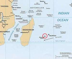 Location map of Réunion Island in the Indian Ocean