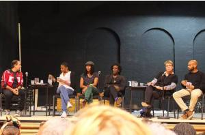 Panel members (from left to right): Paul Richards, Zena Edwards, Sara Myers, Lemn Sissay, Louise Jeffreys, Leon Nyaim.