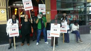 Anti-racism campaigners outside Theatre Royal Stratford East - 22 September 2014