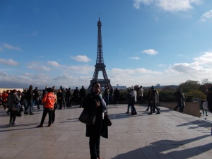 Carol Dixon at the Place du Trocadéro, overlooking the Eiffel Tower - 15 November 2015