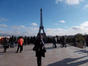 Carol Dixon at the Place du Trocadéro, overlooking the Eiffel Tower - 15 November 2015