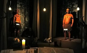A photograph showing one of the controversial tableau vivant (live performance scenes) in South African artist Brett Bailey's installation - 'Exhibit B: Third World Bunfight'. Source:  The Mail Online - http://www.dailymail.co.uk/