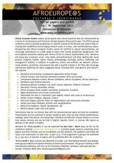 Conference information for  AfroEurope@ns V: Black Cultures and Identities in Europe