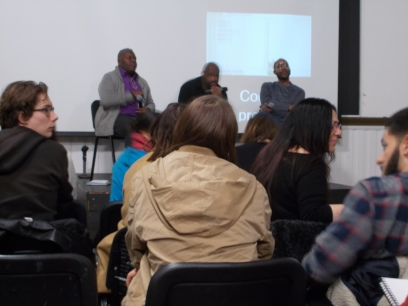 (Left to right): Professor Paul Goodwin in conversation with Dr Keith Piper and Gary Stewart (GHOSTS: Technologies/Subjectivities Lecture Series, UAL, 15/01/2015.