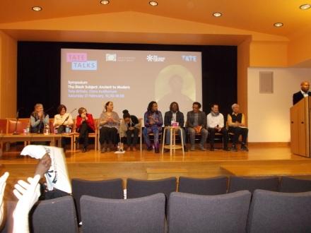 Contributing speakers (left to right): Jan Marsh, Laura Marcus, Roshan McClenahan, Gemma Romain, Caroline Bressey, Kimathi Donkor, S.I. Martin, Michael Ohajuru, Florian Stadtler, Partha Mitter and David Dibosa (standing at the podium).