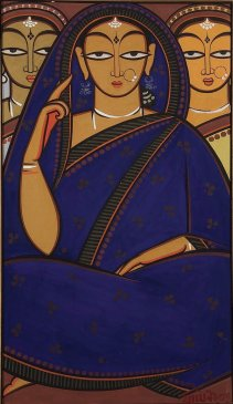 A painting of three women by the Indian modernist  Jamini Roy (1887-1972).