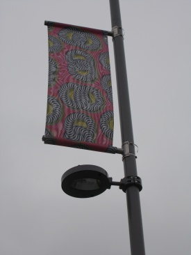 A publicity banner for the Shonibare exhibition displayed on a lamp post near the William Morris Gallery. Photo: Carol Dixon