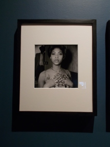 Exhibition view of an untitled image by Raphael Albert, c.1960s, from the portfolio 'Black Beauty Pageants'. Museum no. E.317-2013. © Raphael Albert/ Autograph ABP/ Victoria and Albert Museum, London. Exhibition photo: Carol Dixon.