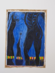Bal des nations (2010), by El Hadji Sy. Acrylic and tar on butcher's paper, 130 x 90 cm.