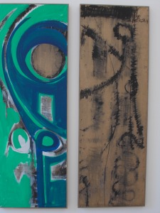 Cataracte (diptych), 2014, by El Hadji Sy. Acrylic on butcher's paper. 80 x 180 cm (each).