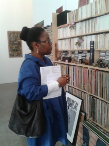 Carol Dixon viewing the Vanley Burke archival installation at the Ikon Gallery (30 July 2015).