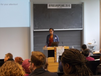 Jamie Schearer (founding member of the European Network for People of African Descent) giving the opening keynote address at the AfroEuropeans V conference. 17 September 2015.