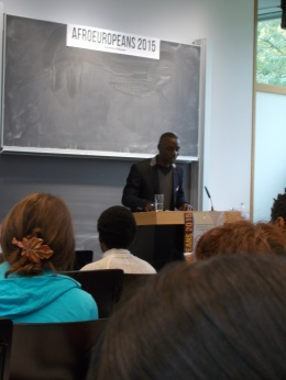 "Diran Adebayo reading from ""The Memoir, Random and Cricket"" at the conference AfroEuropeans V. 17 September 2015."