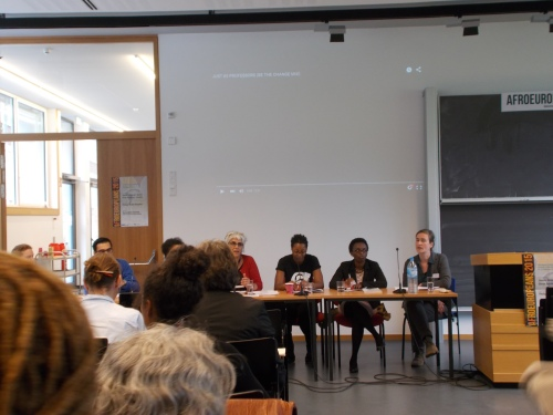 """Panellists involved in the roundtable discussion, """"Why is my professor not black?"""" - chaired by Susheila Nasta (Open University). 17 September 2015."""
