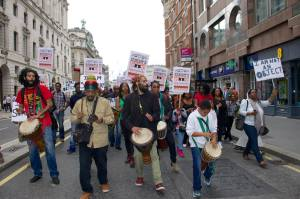 Demonstrators march to the Barbican as part of the boycott campaign opposing 'Exhibit B' in London. September 2015.