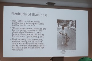 A slide from Dr Lisa Palmer's presentation about Vanley Burke's photographic archive of Black British lived experiences in Birmingham, UK.