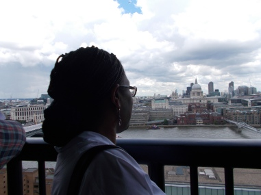 Looking out towards St Paul's from the 10th floor viewing gallery at Tate Modern's Switch House.