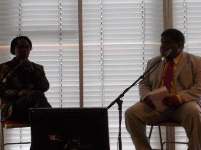 Gary Younge (pictured right) in conversation with Baaba Maal at Africa Utopia 2016