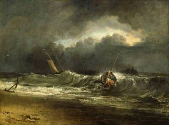 Fishermen upon a Lee-Shore, in Squally Weather (1802), by J.M.W. Turner.