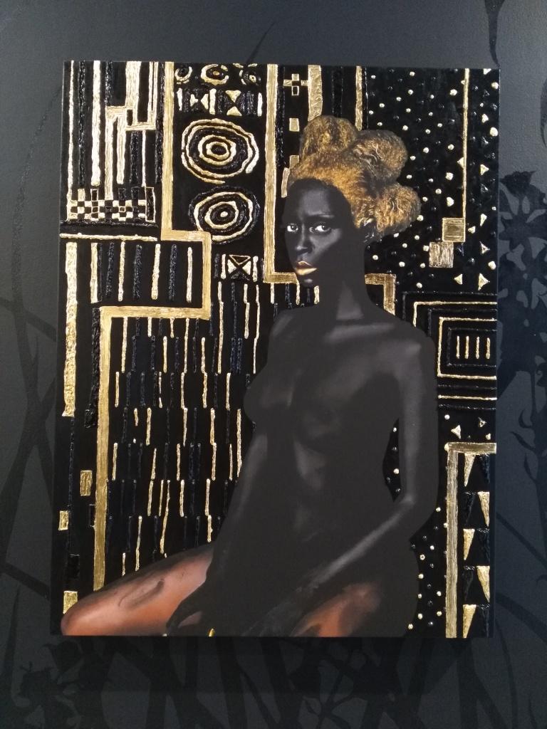 Materia Prima' (2015) from a series of three works by Lina Iris Viktor. Pure 24-karat gold, acrylic, gouache, print on matte canvas. 101.6 x 132.08 cm. Photo: Carol Dixon.